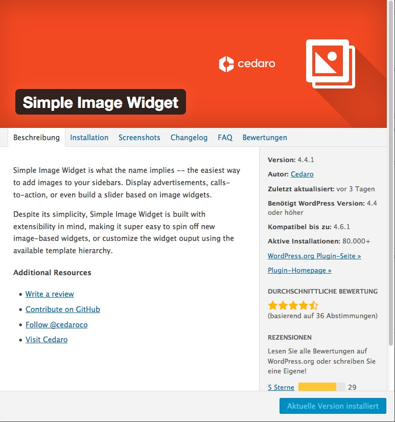 Simple Image Widget Pluginseite im WordPress Directory