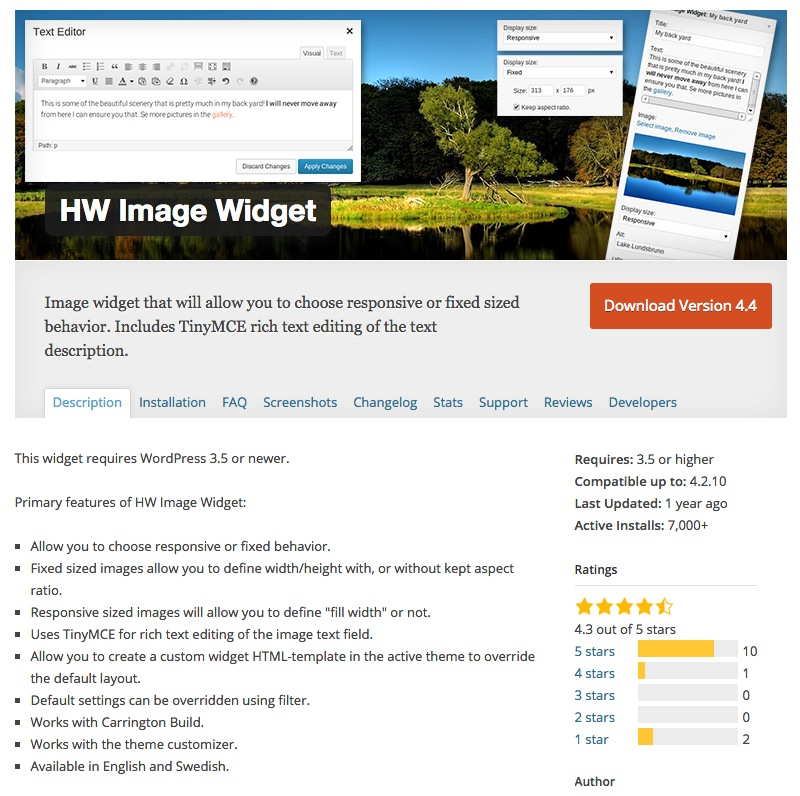 Die HW image-Widget Pluginseite im WordPress Directory