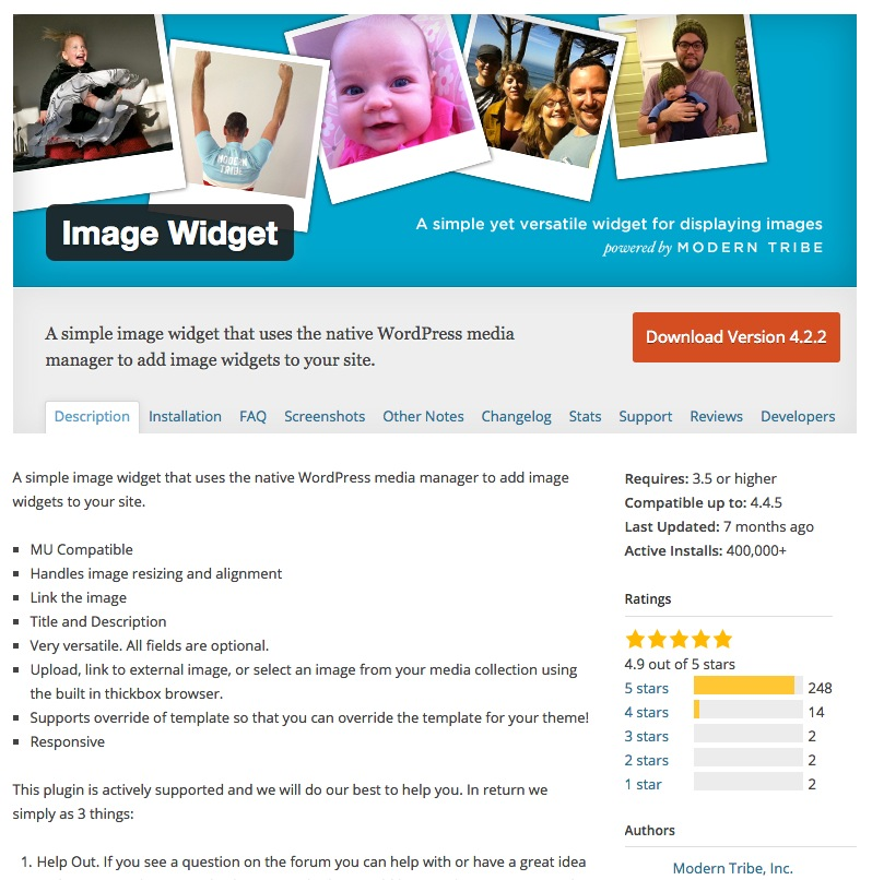 Image Widget Pluginseite im WordPress Repository