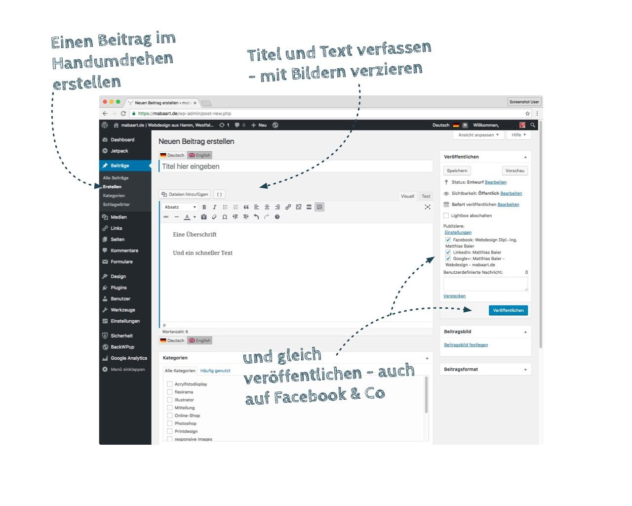 Bildschirmfoto der Eingabemaske eines WordPress Post