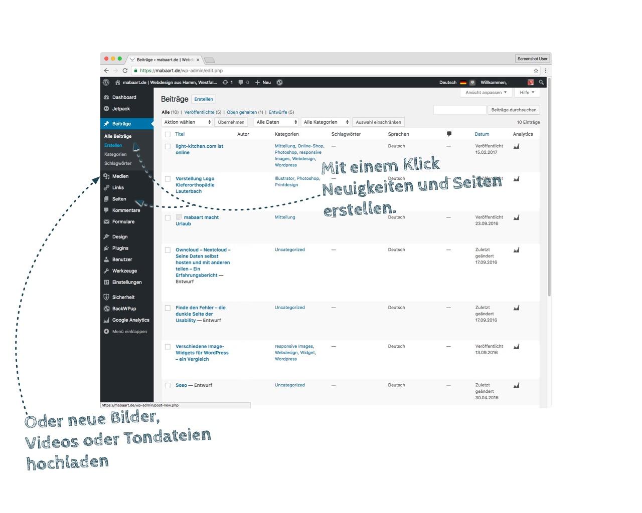 Bildschirmfoto des WordPress Backends mit Hervorhebung der Beitragserstellung, Seitenerstellung und Medienupload
