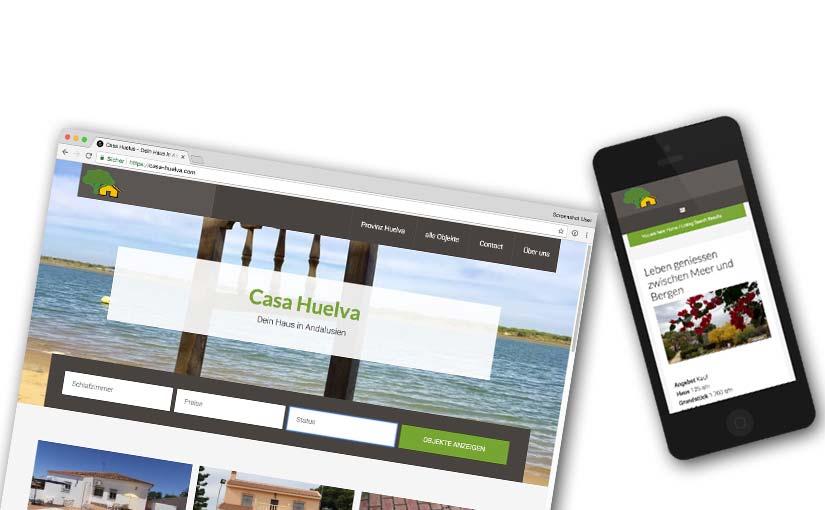 Bildschirmfoto der Webseite Casa-Huelva.com und Bild mit mobiler Ansicht auf iPhone