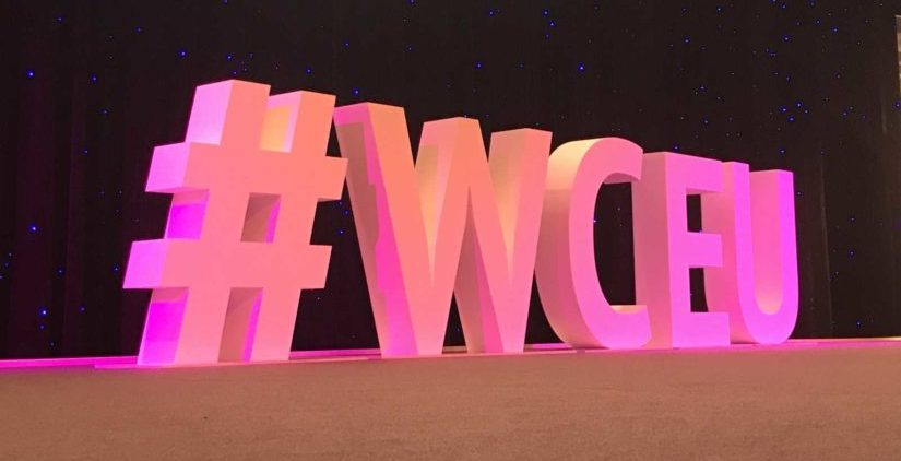 pink #WCEU-Letters on stage of Wordcamp Europe