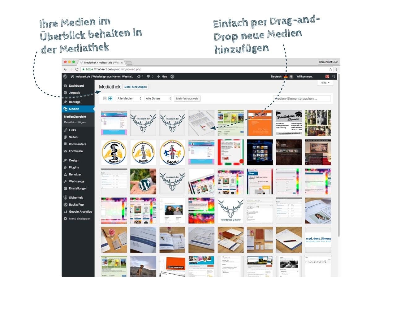 Bildschirmfoto der WordPress Mediathek