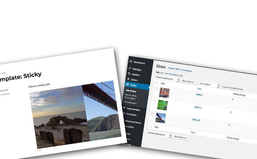 Slidertest Beitragsbild - Bildschirmfotos von Slidern