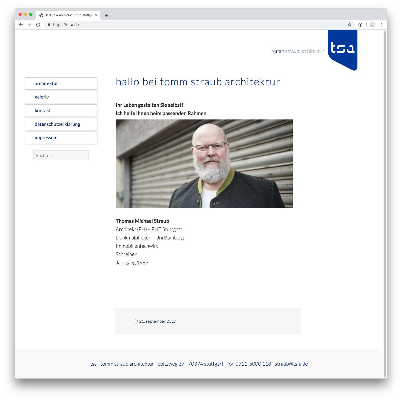 Bildschirmfoto der Webseite ts-a.de. Es zeigt das Menü und ein Bild des Architekten