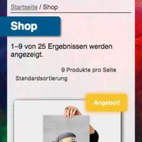 Der light-kitchen Online-Shop in der mobilen Version
