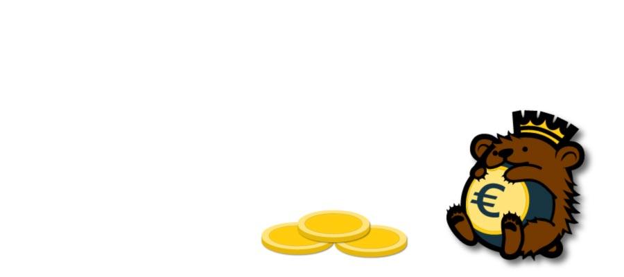 lustiger Wapu-Bär mit Münzen
